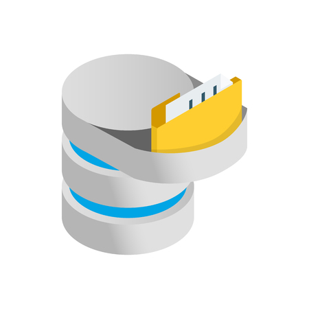 Data import into a database icon in isometric 3d style on a white background