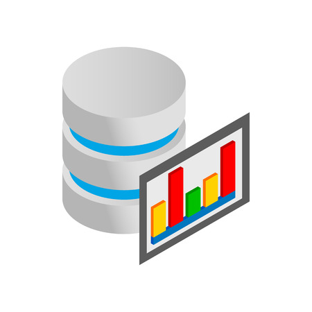 Database and computer monitor with chart icon in isometric 3d style on a white background