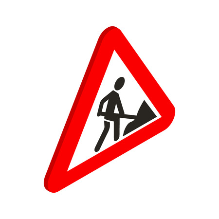 roadworks: Roadworks sign icon in isometric 3d style on a white background