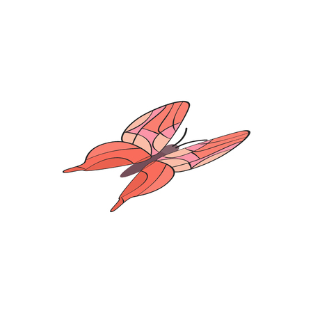 red butterfly: Red butterfly icon in isometric 3d style on a white background