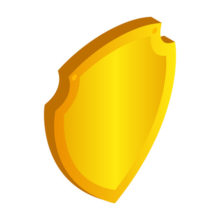 honor guard: Gold shield icon in isometric 3d style on a white background