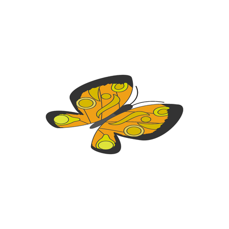 3d butterfly: Yellow butterfly icon in isometric 3d style on a white background
