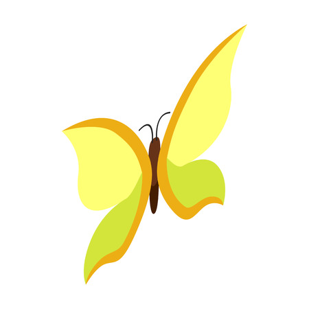 yellow butterfly: Yellow butterfly icon in isometric 3d style on a white background