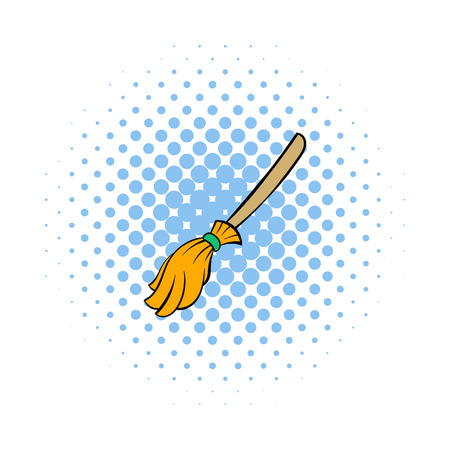 whisk broom: Witches broom icon in comics style on a white background