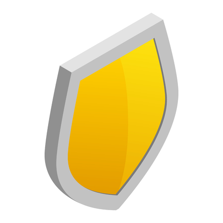 honour guard: Yellow shield icon in isometric 3d style on a white background