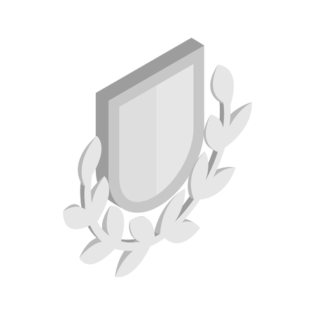 honor guard: Silver shield with a laurel branch icon in isometric 3d style on a white background Illustration