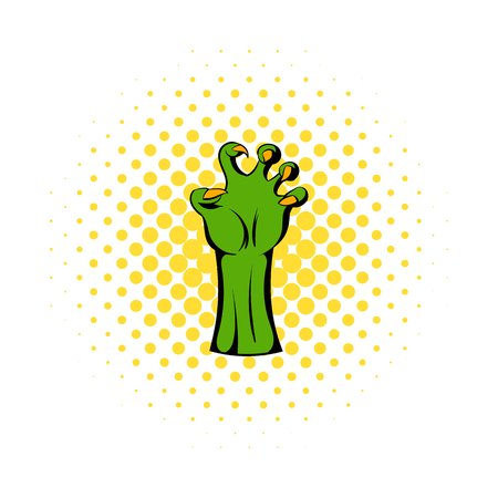 rotting: Witch green hand icon in comics style on a white background