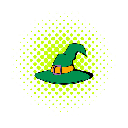 pointy hat: Witch hat icon in comics style on a white background Illustration