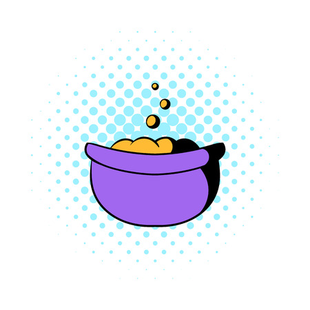Witch cauldron with potion icon in comics style on a white background