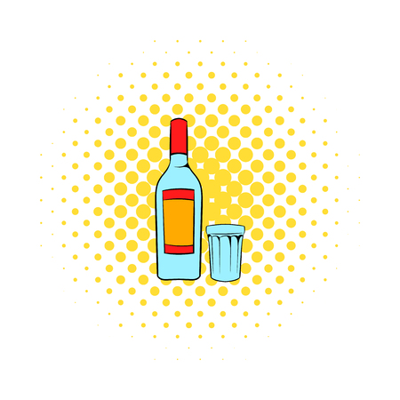 distill: Bottle of vodka and glass icon in comics style on a white background Illustration