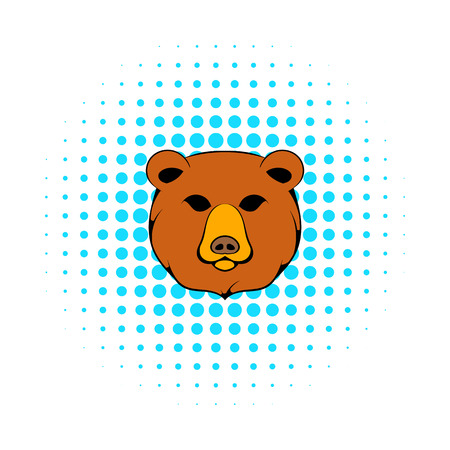 bruin: Head of bear icon in comics style on a white background Illustration