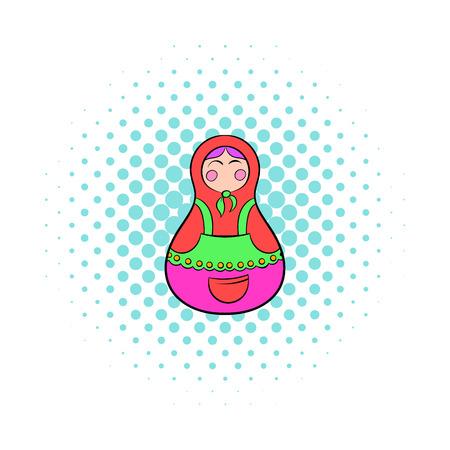 matreshka: Matryoshka icon in comics style on a white background