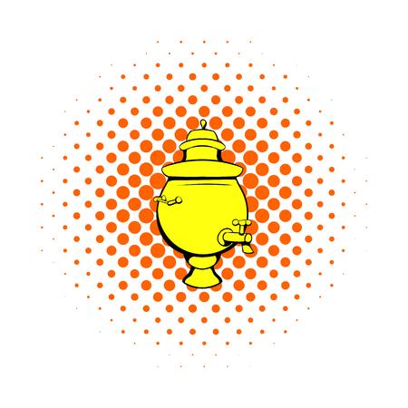 samovar: Samovar icon in comics style on a white background Illustration