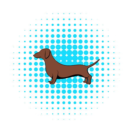 weiner: Dachshund icon in comics style on a white background