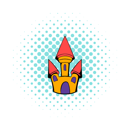 popular tale: Castle icon in comics style on a white background