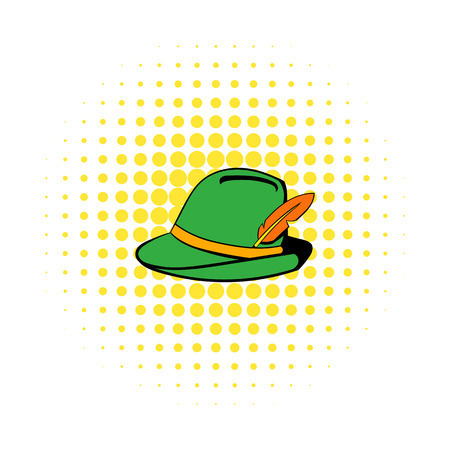 trachten: Green hat with feather icon in comics style on a white background