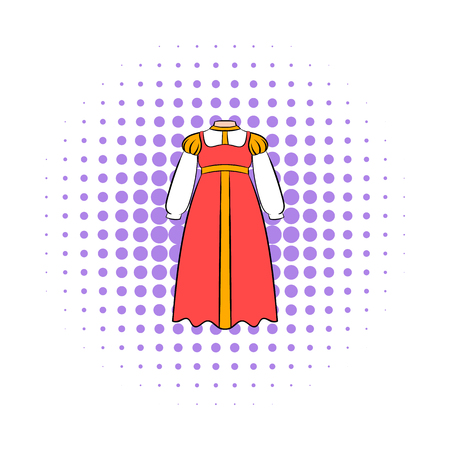 gentleness: Russian national sarafan icon in comics style on a white background