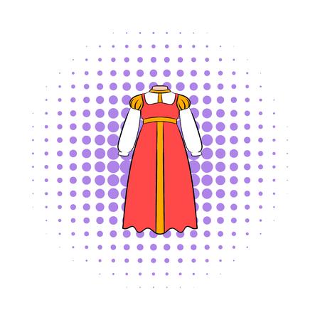 kokoshnik: Russian national sarafan icon in comics style on a white background