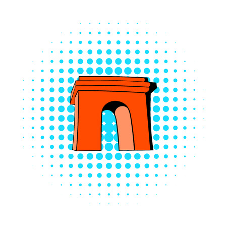 triumphal: Triumphal arch, Paris icon in comics style on a white background