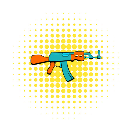 assault rifle: assault rifle icon in comics style on a white background