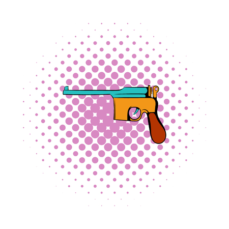 german handgun: German pistol icon in comics style on a white background Illustration