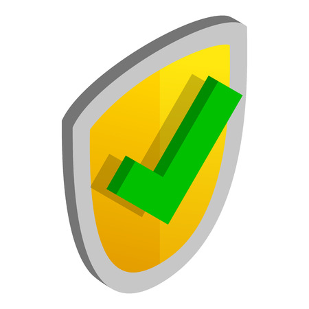 green tick: Yellow security shield with green tick icon in isometric 3d style on a white background Illustration