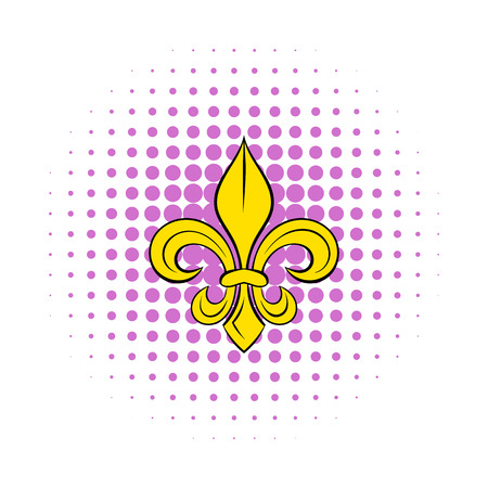 royal french lily symbols: Royal french lily icon in comics style on a white background