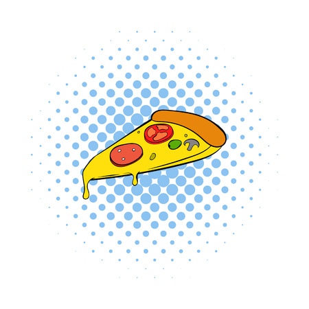 melted cheese: Slice of pizza icon in comics style on a white background