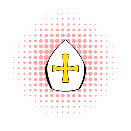 popular belief: Papal tiara, hat with cross icon in comics style on a white background