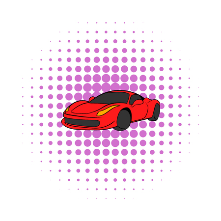 comics car: Red car icon in comics style on a white background Illustration