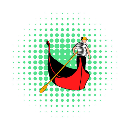 gondolier: Gondola with gondolier icon in comics style on a white background