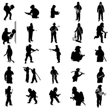 Firefighter silhouettes set isolated on white background