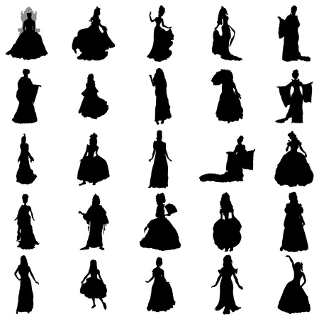 Princess silhouettes set isolated on white background Çizim