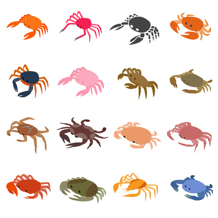crab legs: Crab icons set in isometric 3d style isolated on white background Illustration