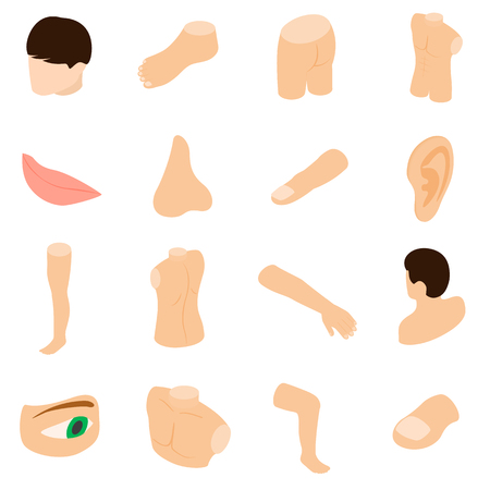 hand on chin: Body parts icons set in isometric 3d style isolated on white background
