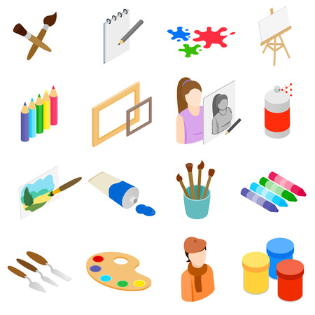fine arts: Art icons set in isometric 3d style isolated on white background