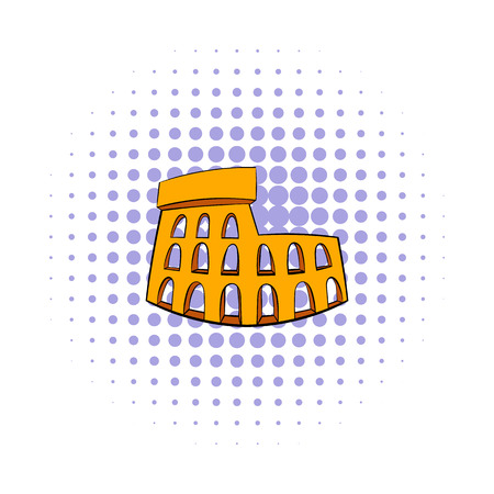 colosseum: Roman Colosseum icon in comics style on a white background Illustration