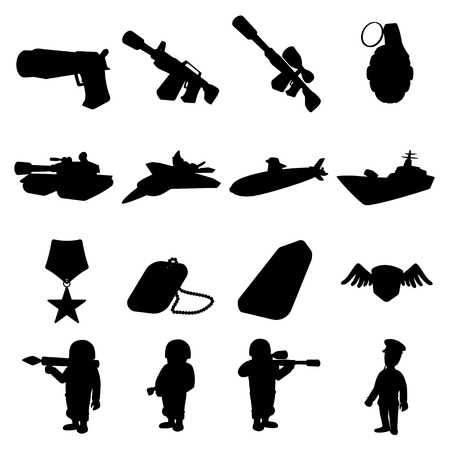 chaser: Military and war silhouettes icons set isolated on white background Illustration