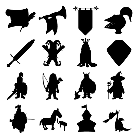 historic world event: Medieval silhouettes icons set for web and mobile devices