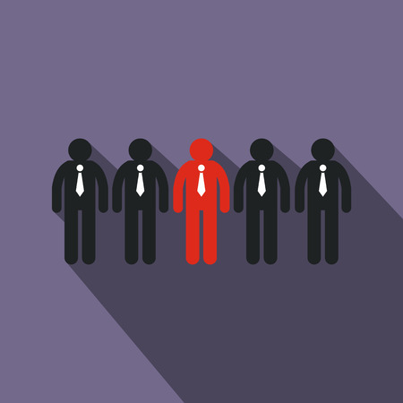 clerks: Red clerk among black clerks icon in flat style on purple background. Business concept for leadership
