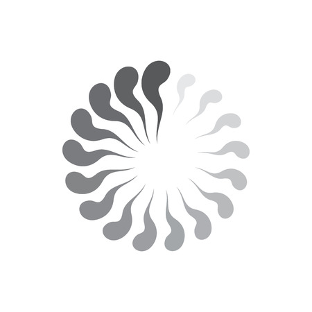 Grey gradiant geometric circle of abstract waves icon in simple style isolated on white background Illustration