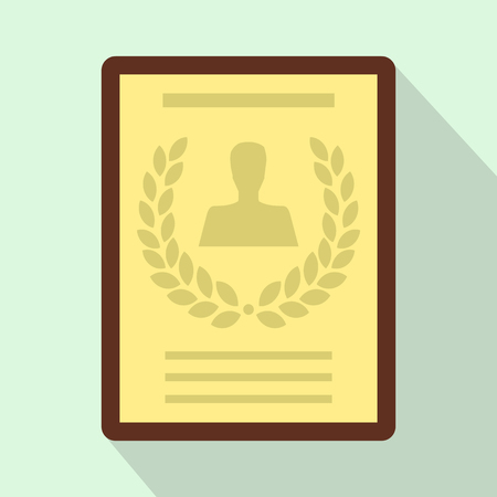 attestation: Certificate, diploma, charter icon in flat style on light blue background Illustration