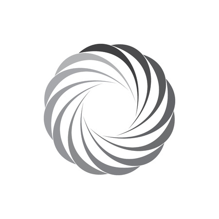 Grey gradiant geometric circle of abstract curves icon in simple style isolated on white background