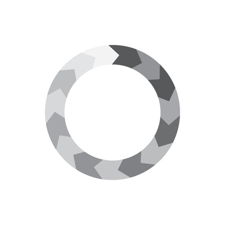 Grey gradiant geometric circle of segment arrows icon in simple style isolated on white background Illustration