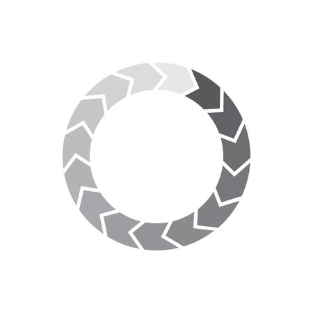 cercle gradiant Grey séparés segment de flèches icône dans un style simple isolé sur fond blanc