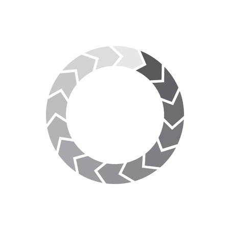 Grey gradiant circle of separated segment arrows icon in simple style isolated on white background Illustration