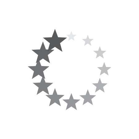 GRADIANT: Grey gradiant geometric circle of stars icon in simple style isolated on white background