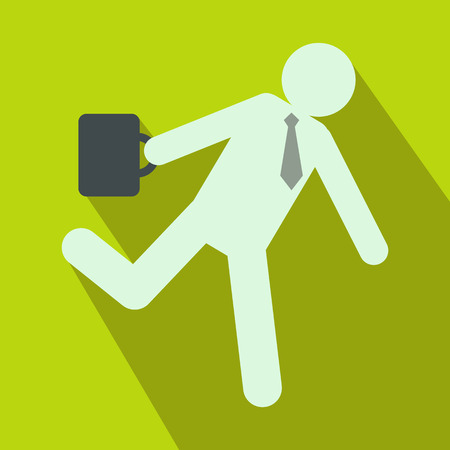 hysterical: Running clerk icon in flat style on green background. Businessman late to work