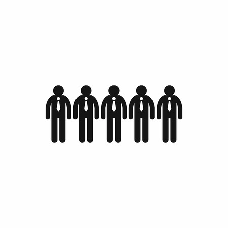 clerks: Five clerks icon in simple style isolated on white background. Business concept for team