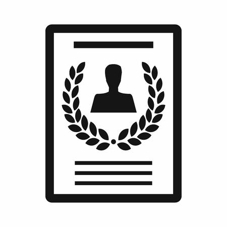 Certificat, diplôme, charte icône dans un style simple isolé sur fond blanc Vecteurs